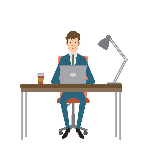 man using a computer - telecommuting stock illustrations, clip art, cartoons, & icons