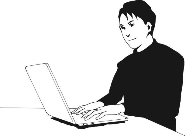 ラップトップを使用している男 - 大学生 パソコン 日本点のイラスト素材/クリップアート素材/マンガ素材/アイコン素材