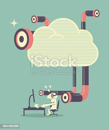istock Man using computer, being peeked by periscope from cloud 494495398