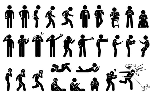 man using, holding, and carrying phone or smartphone in different basic position and postures. - anger stock illustrations