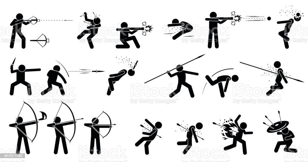Man using medieval war hand held ranged weapons. vector art illustration