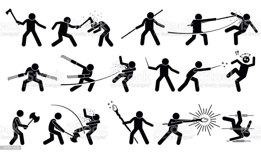 Man using medieval war weapons to attack and fight. vector art illustration