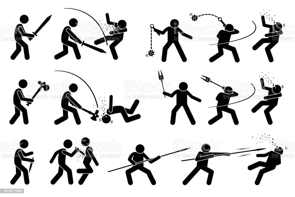 Man using medieval war weapons to attack. vector art illustration