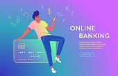 Man using mobile app for online banking. Concept vector illustration of young girl sitting on big credit card with smartphone and using a mobile app for electronic banking and financial accounting