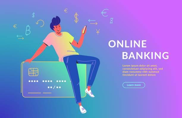 ilustrações de stock, clip art, desenhos animados e ícones de man using mobile app for online banking - paying with card