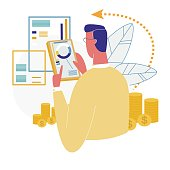Man Using Trendy Mobile Banking App. Cryptocurrency Technology. Bitcoin Exchange. Financial Analytics, Statistics, Trading Business Application Finance Analysis Graphs Cartoon Flat Vector Illustration