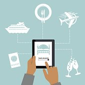 Man Using Online Apps For Wedding Arrangements. Internet of Things Concept.
