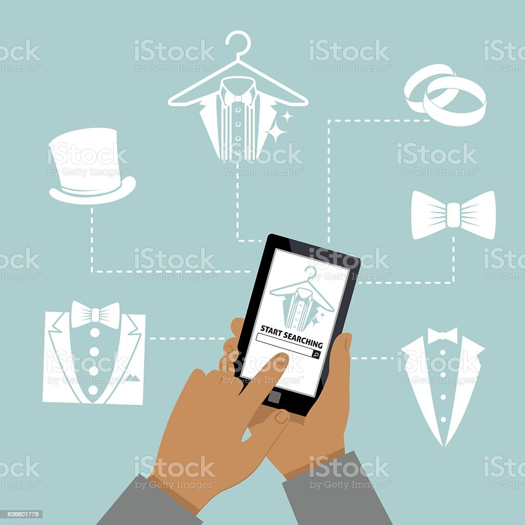 Man Using Online Apps For Wedding Arrangements Stock Vector Art ...