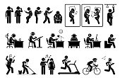 Artworks depict people or person listening to music, podcast, or video with phone while doing various activities.