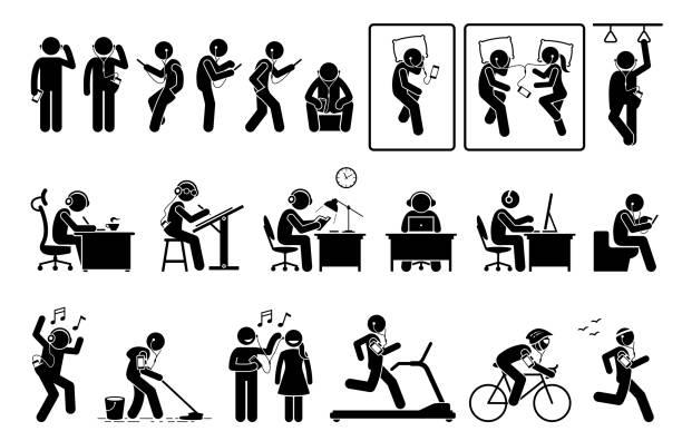 mann benutzt telefon und hört ohrhörer in verschiedenen posen sticks piktogramm. - paararmbänder stock-grafiken, -clipart, -cartoons und -symbole