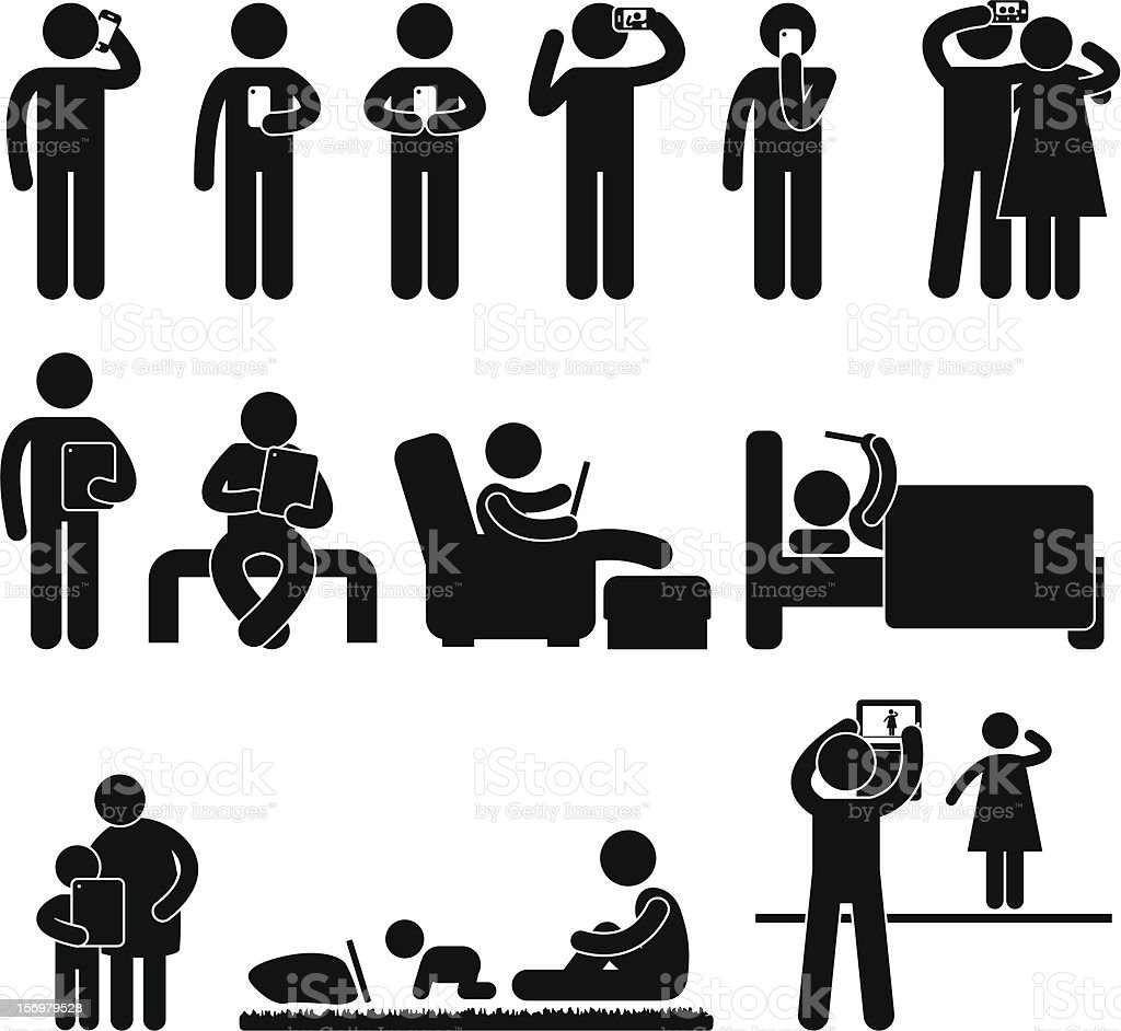 Man Using Smartphone and Tablet Pictogram vector art illustration