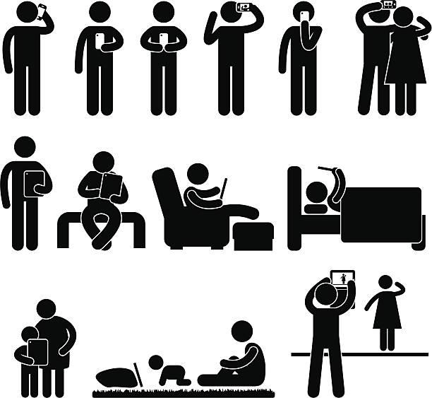 男性のために、スマートフォンやタブレット pictogram - スマホ ベッド点のイラスト素材/クリップアート素材/マンガ素材/アイコン素材