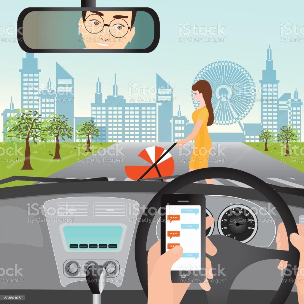 L'homme à l'aide de smartphone pendant que vous conduisez la voiture lorsque la femme avec une poussette. - Illustration vectorielle