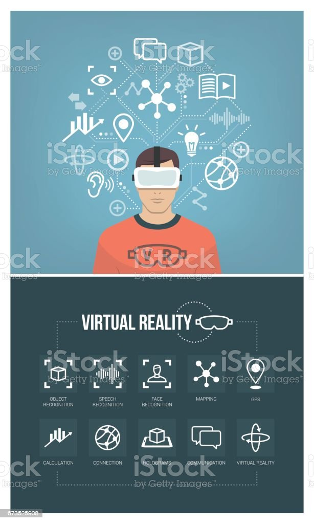 Man using virtual reality headset vector art illustration