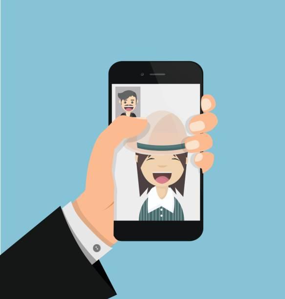illustrations, cliparts, dessins animés et icônes de homme avec facetime - facetime