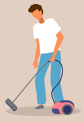 Man vacuuming icon, guy cleaning floor with vacuum cleaner, home activity during quarantine time