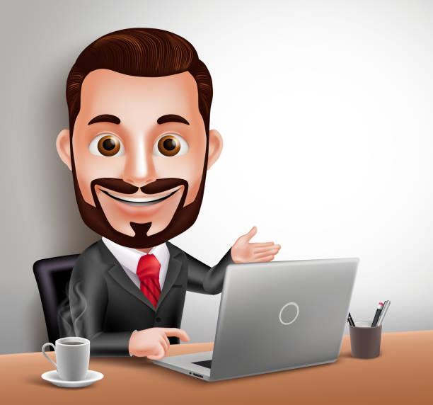 stockillustraties, clipart, cartoons en iconen met man vector character happy sitting and working in office desk - karikatuur