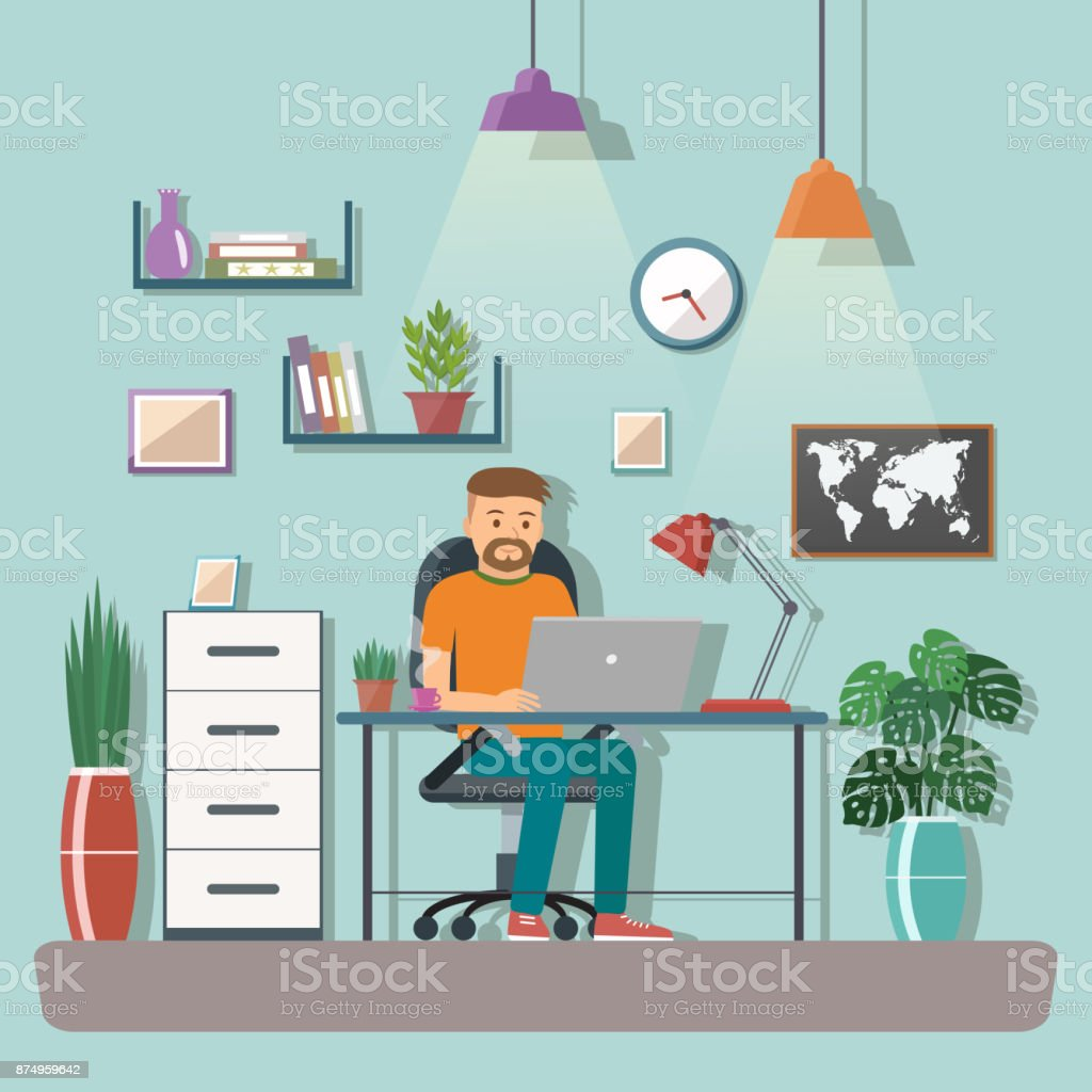 the creative office. Man Vector Character Working In The Creative Office Or Home. Freelance Work. Workspace
