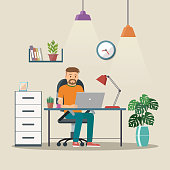 the creative office. Man Vector Character Working In The Creative Office Or Home. Freelance Work.