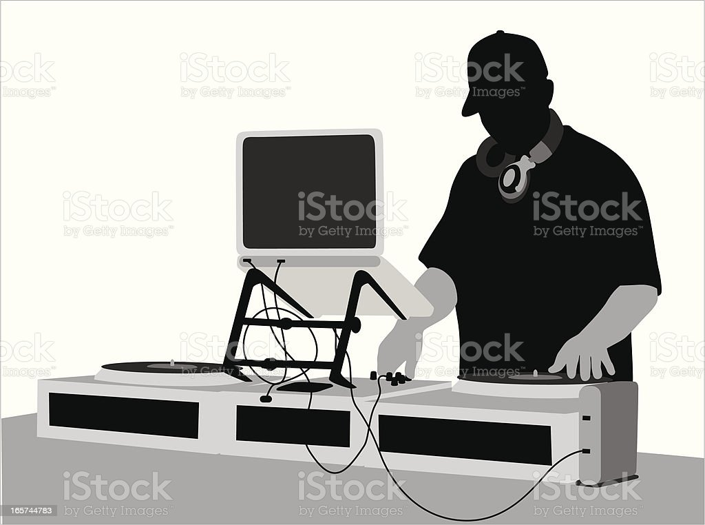 DJ Man Vector Silhouette vector art illustration