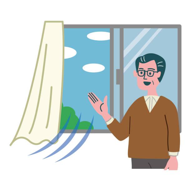mann lüftung illustration fenster geöffnet - lüften stock-grafiken, -clipart, -cartoons und -symbole