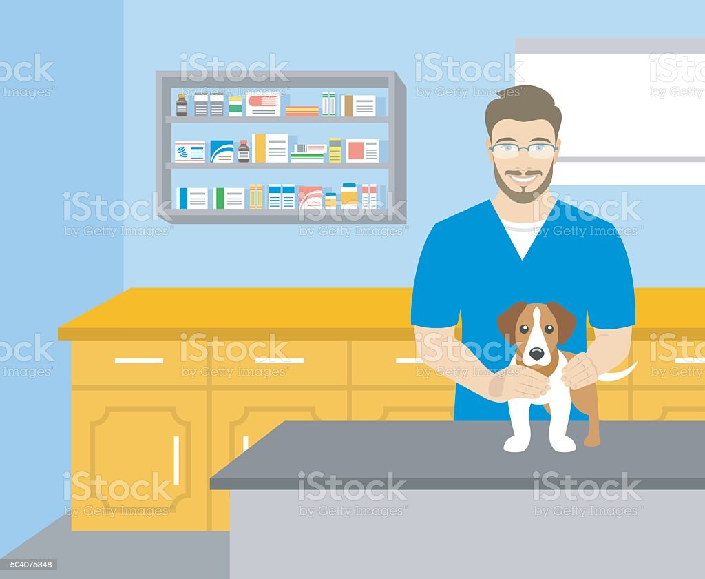 Man 獣医犬を抱くの獣医オフィス ベクターアートイラスト