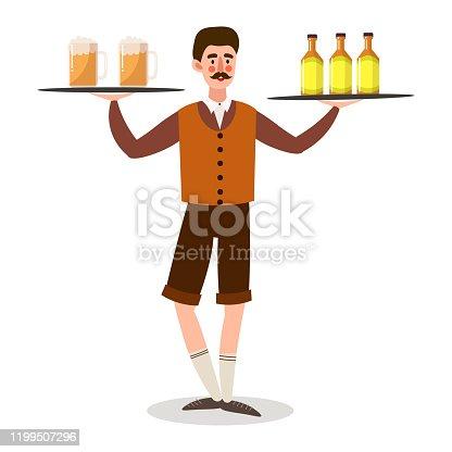 istock Man waiter serving beer in glasses and bottles vector illustration 1199507296
