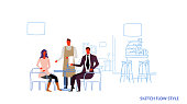man waiter standing near man woman visitors sitting at cafe table modern restaurant interior male female cartoon characters full length sketch flow style horizontal vector illustration