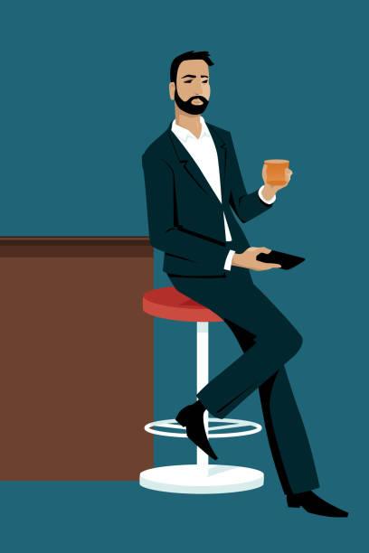 Man waiting at a bar vector art illustration