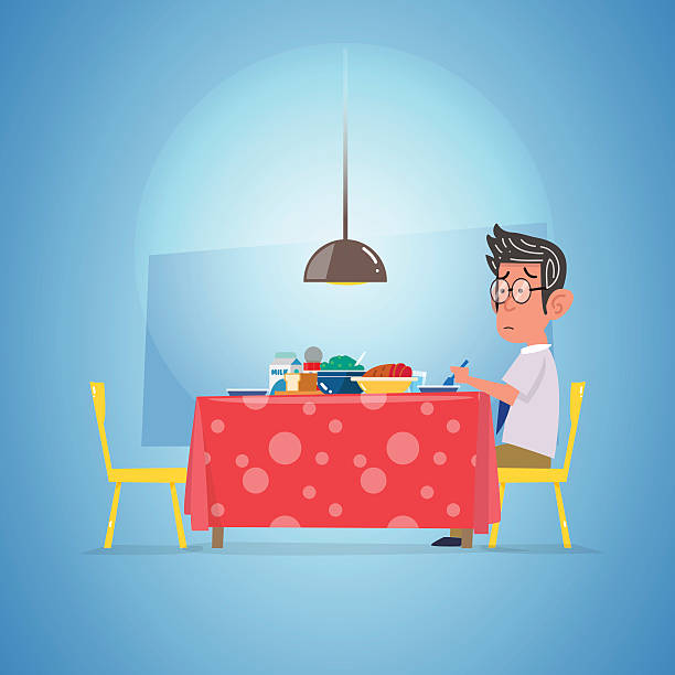 man waiting dinning. lonely concept - vector - old man standing background stock illustrations, clip art, cartoons, & icons