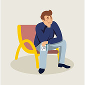 Man waiting in queue flat vector illustration. Tired guy holding queue ticket clipart. Candidate cartoon character sitting on chair and waiting for job interview. Bored patient in hospital lobby