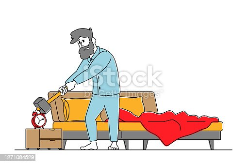 istock Man Waking Up at Morning with Anger Hitting Alarm Clock with Hammer. Sleepy Male Character in Bad Mood after Getting Up. 1271084529