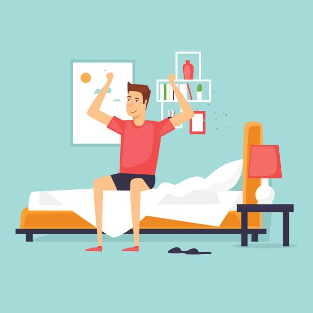Man waking up in the morning stretching sitting on his bed after getting up. Flat design vector illustration. vector art illustration