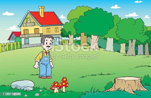 Man walk at yard