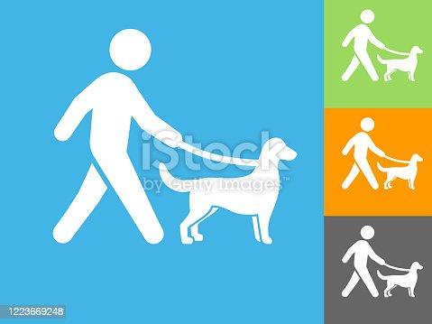 istock Man Walking a Dog Icon 1223669248