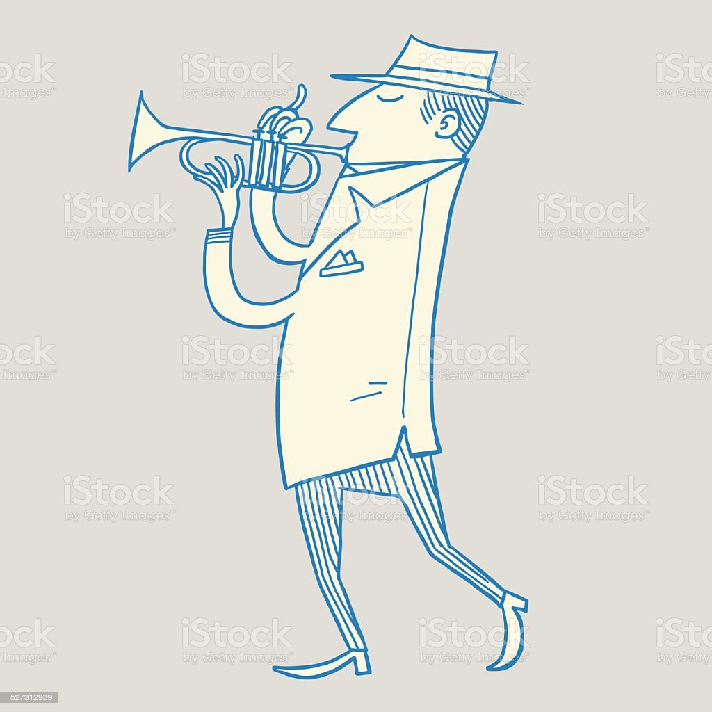 Man Walking and Playing Trumpet vector art illustration