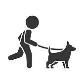 Man Walking Dog Icon on White Background. Vector illustration