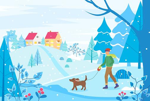 Man Walking Dog in Winter Landscape, Town View