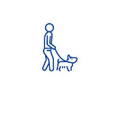 Man walking dog line concept icon. Man walking dog flat  vector website sign, outline symbol, illustration.