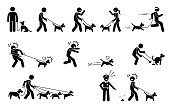 Stick figures depict people walking pet dogs on a leash in various situations.