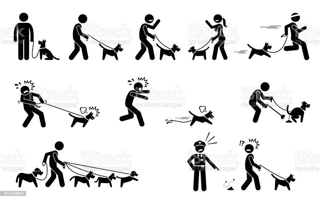 Man Walking Dog. vector art illustration