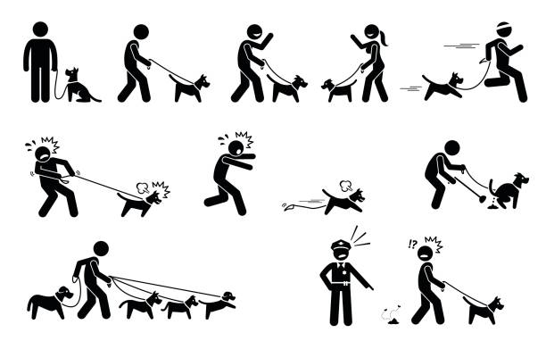 Man Walking Dog. Stick figures depict people walking pet dogs on a leash in various situations. police meeting stock illustrations