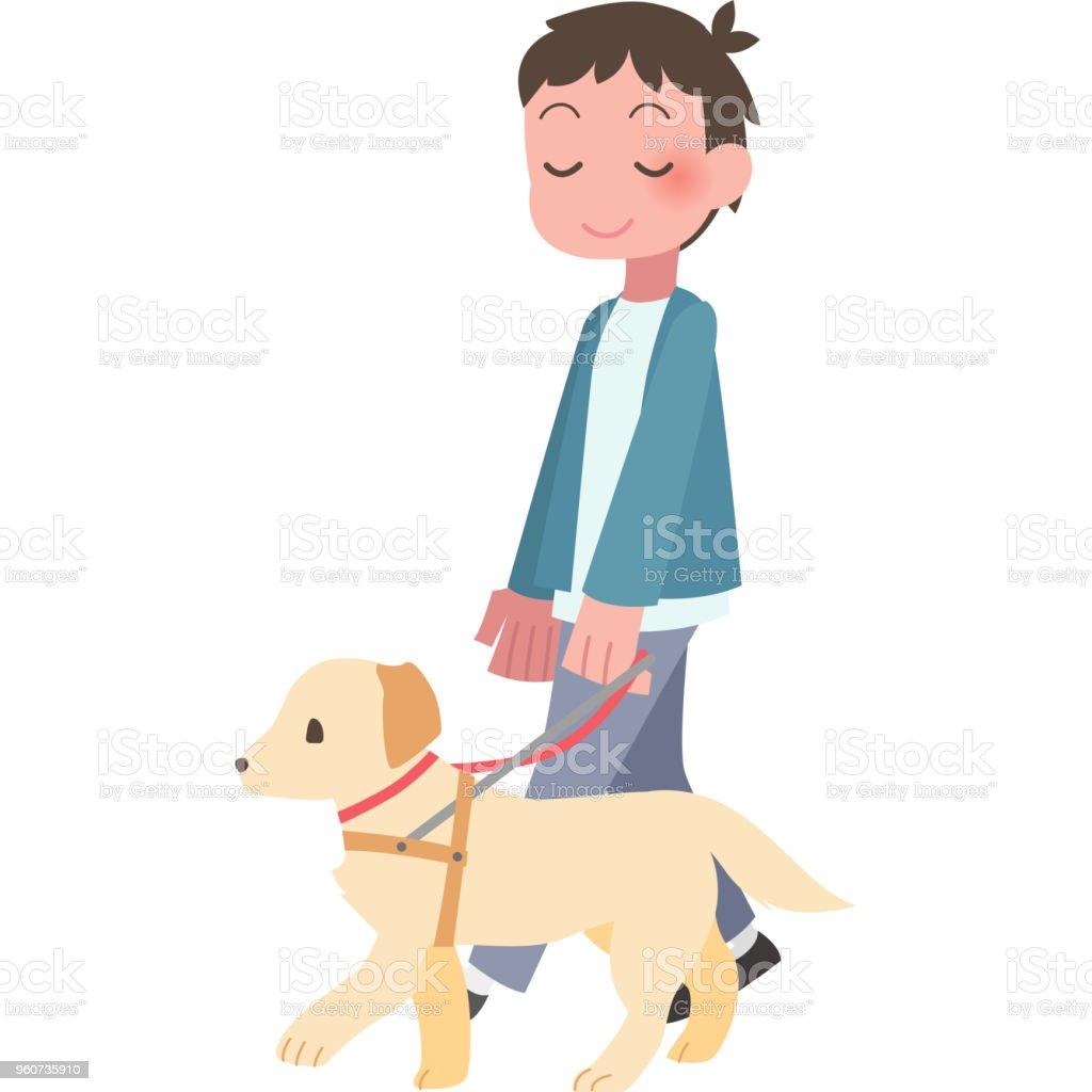 Man walking 犬 ベクターアートイラスト