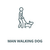 Man walking dog vector line icon, outline concept, linear sign