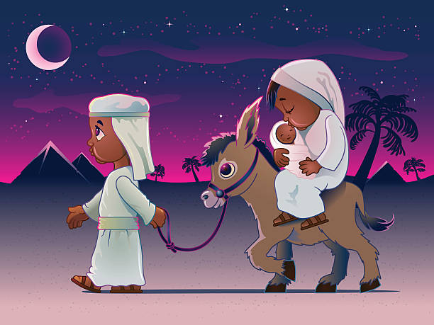 Man Walking Donkey Carrying Wife and Baby in Egypt vector art illustration