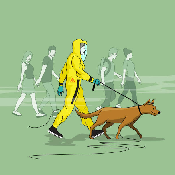 A Man Walking His Dog In A Hazmat Suit A man talking his dog for a walk in the park wearing a HAZMAT suit with odd looks from onlookers. People vector illustration lead poisoning stock illustrations
