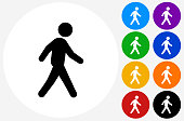 Man Walking on Flat Round Button. The icon is black and is placed on a round blue vector button. The button is flat white color and the background is light. The composition is simple and elegant. The vector icon is the most prominent part if this illustration. There are eight alternate button variations on the right side of the image. The alternate colors are orange, red, purple, yellow, black, green, blue and indigo.