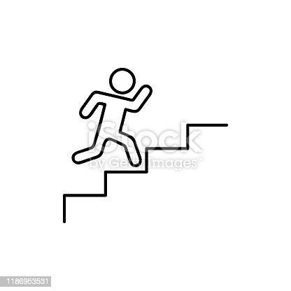 man walking towards his goal up the stairs, passing through difficulties and obstacles. Symbol of faith and diligence. Vector illustration