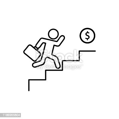 man walking towards his goal up the stairs, passing through difficulties and obstacles. Symbol of faith and diligence. Vector