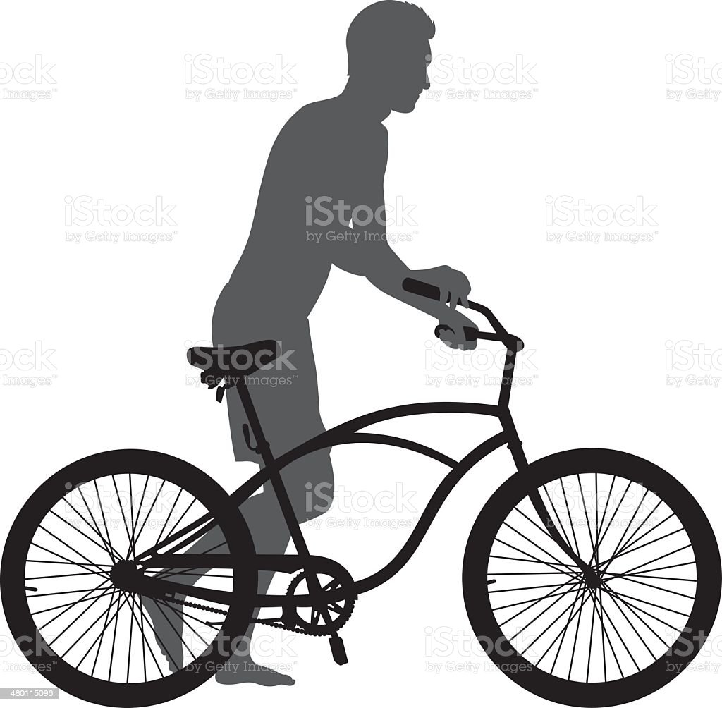 Man Walking with Bike Silhouette vector art illustration